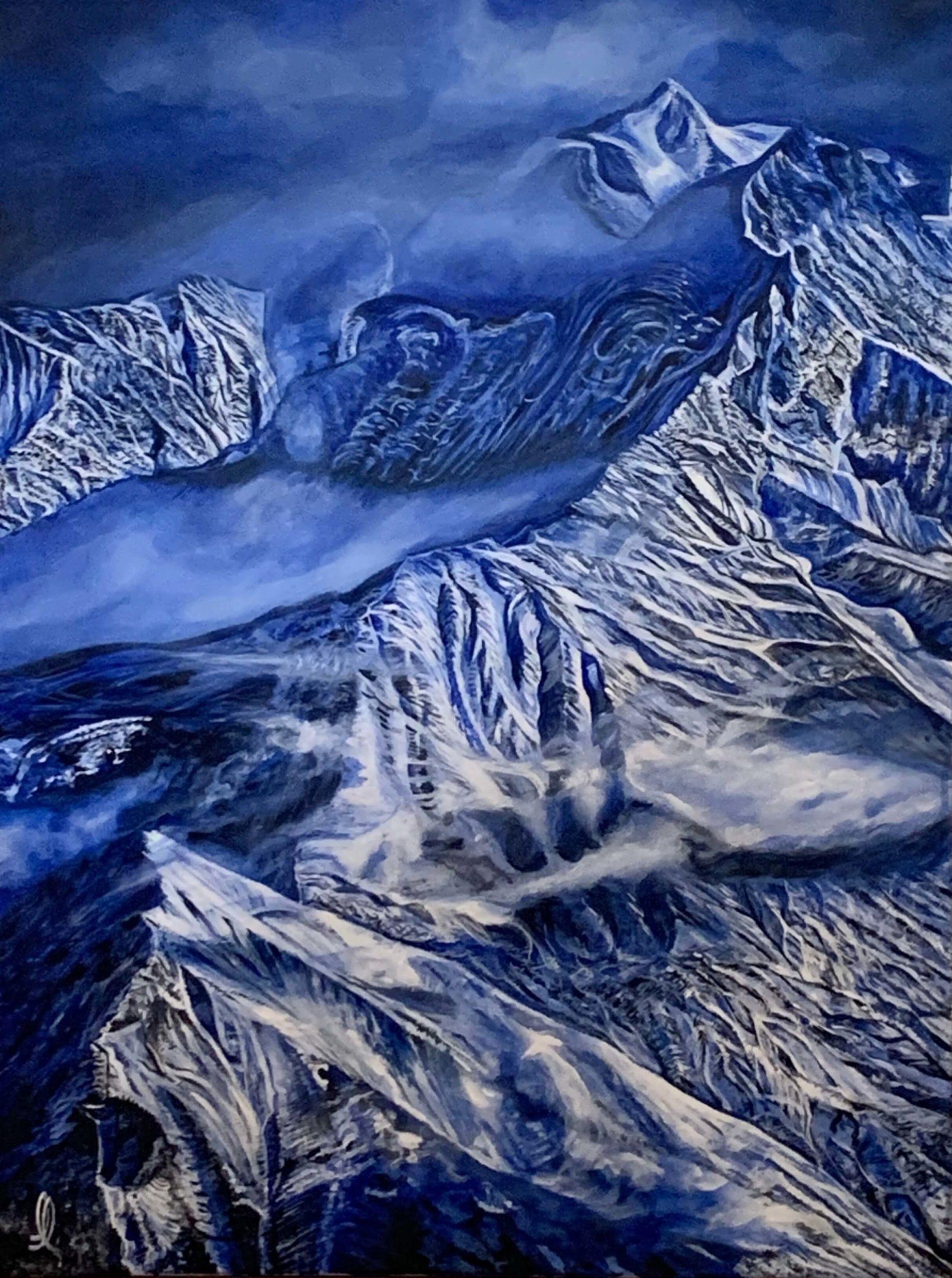 Les cimes du Mont d'Arbois en Haute Savoie, huile sur toile
