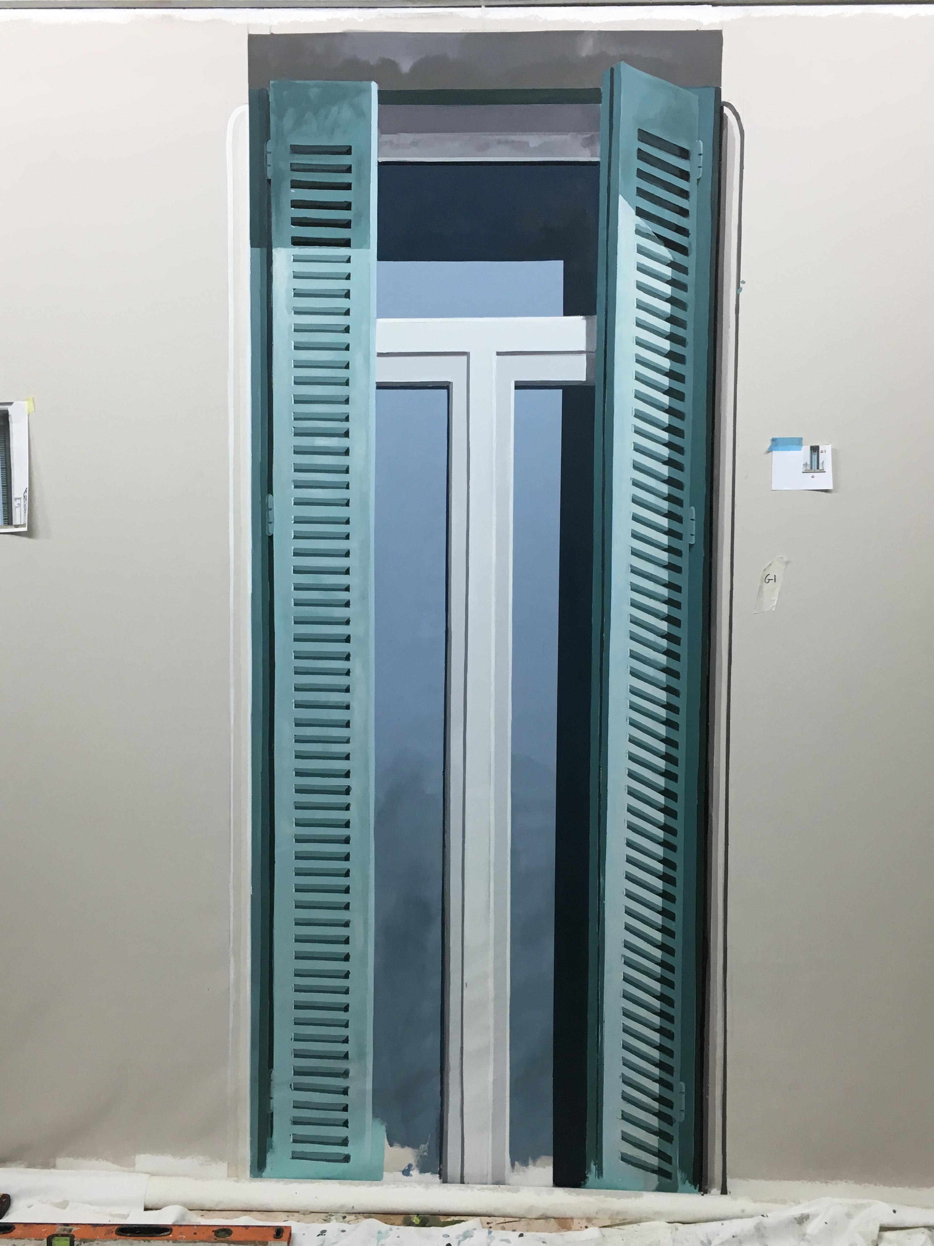 Fenêtre en trompe loeil extérieur - détail bas droit de façade immeuble Beziers
