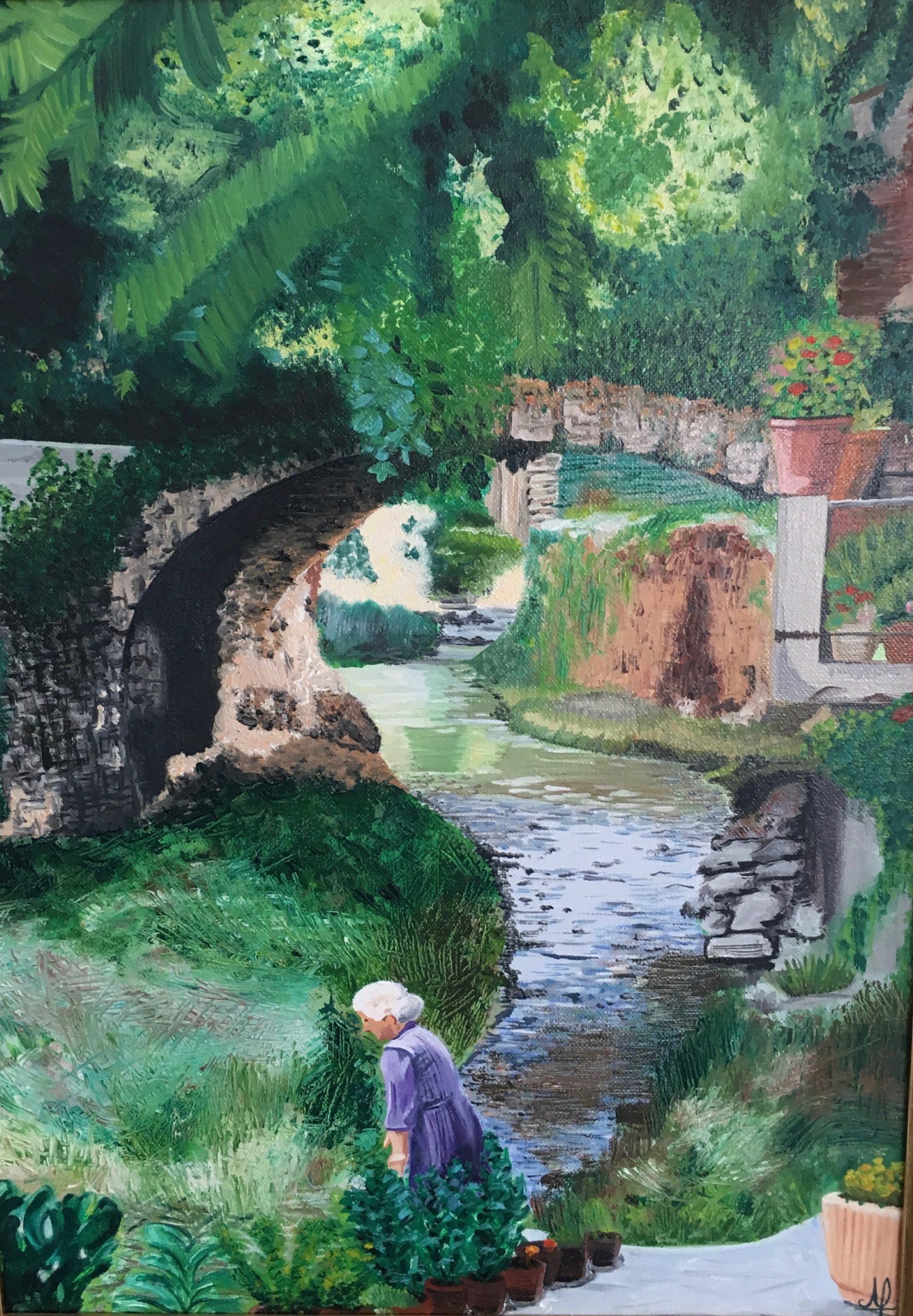 Villageoise ardéchoise en bord de ruisseau - Huile sur toile L33xH46