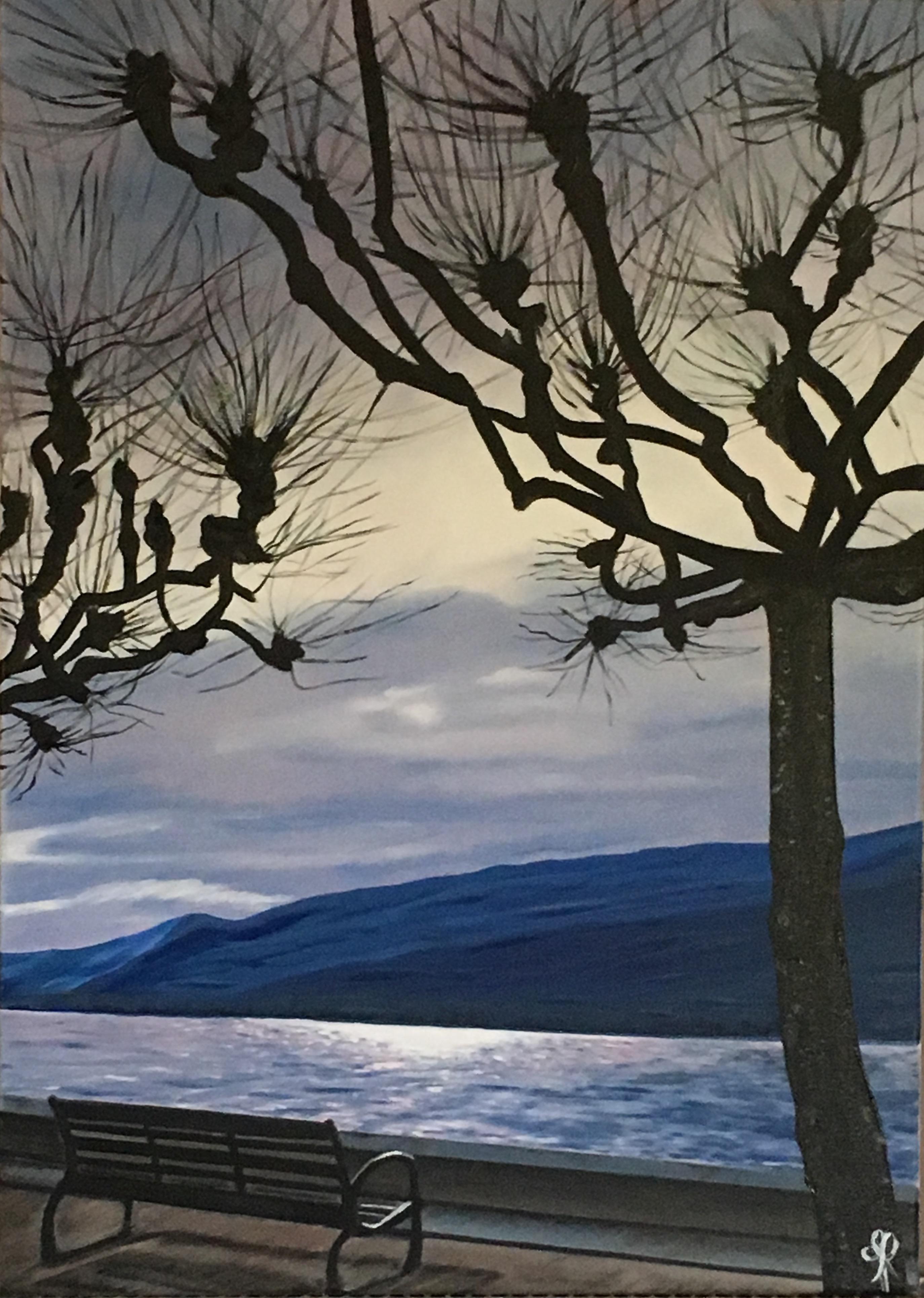 Le Bourget's lake at nightfall - oil painting