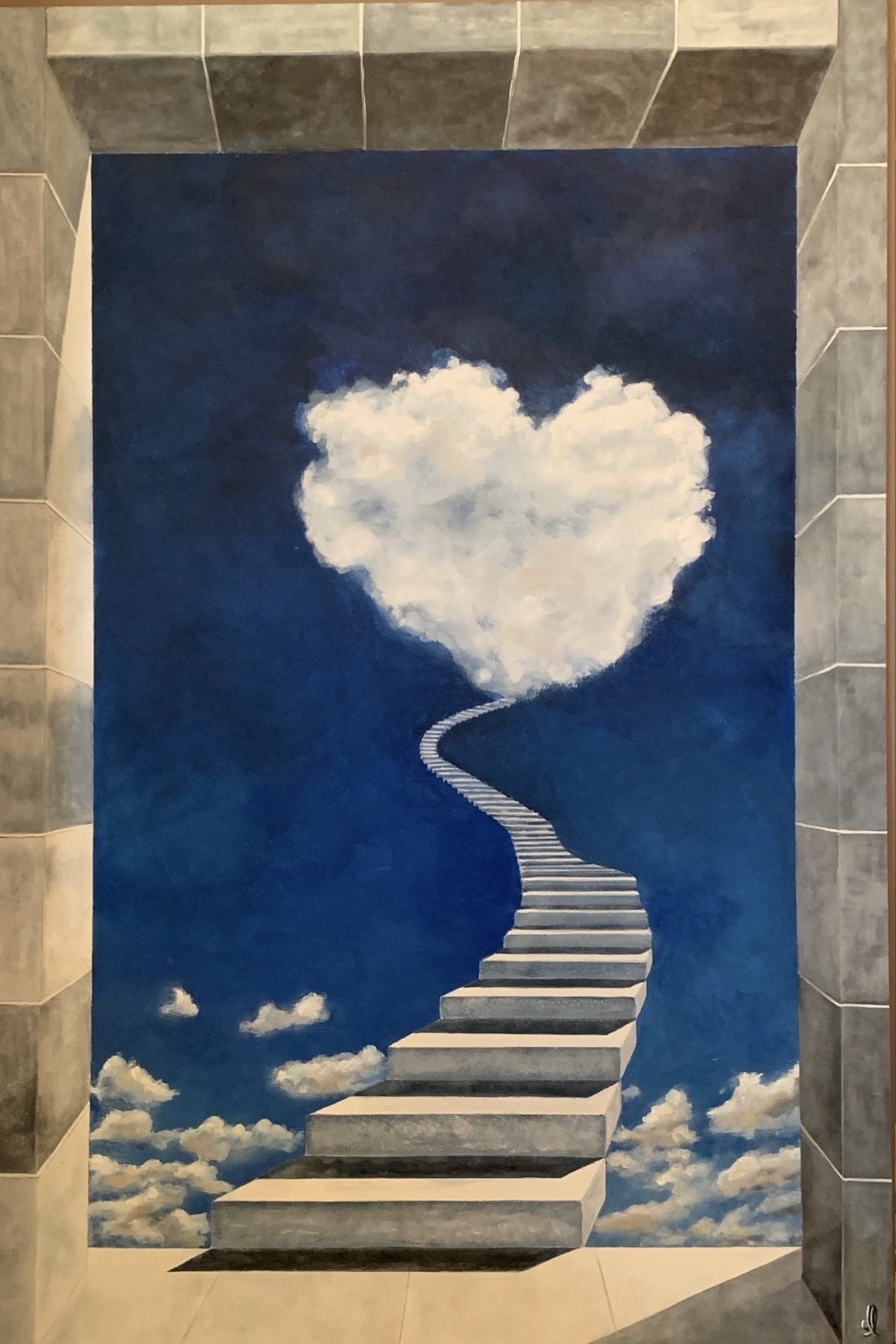 Trompe l'oeil Stairs to the cloud - Acrylic L90xH135