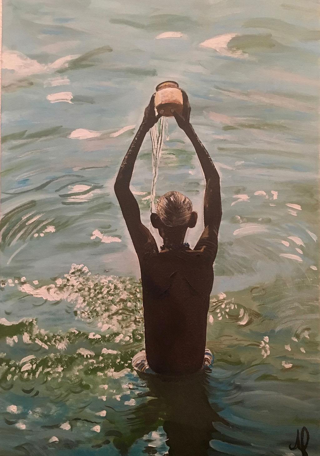Rituel funéraire dans le Gange (huile)