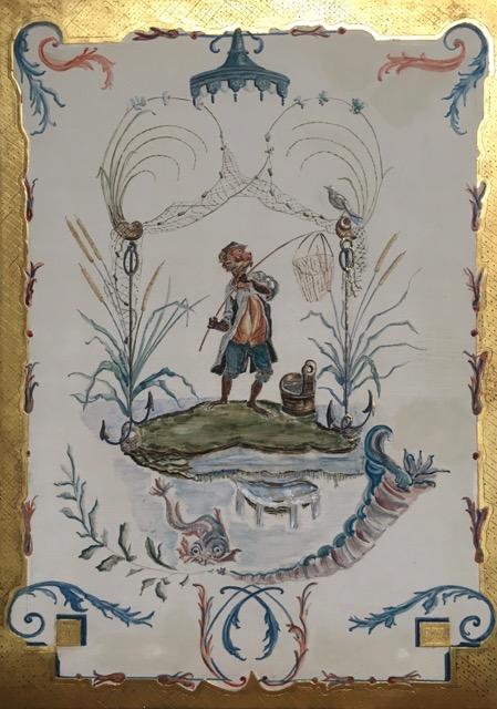 Singerie XVIIIème siècle (Peinture à la colle de peau et dorure à la feuille d'or)