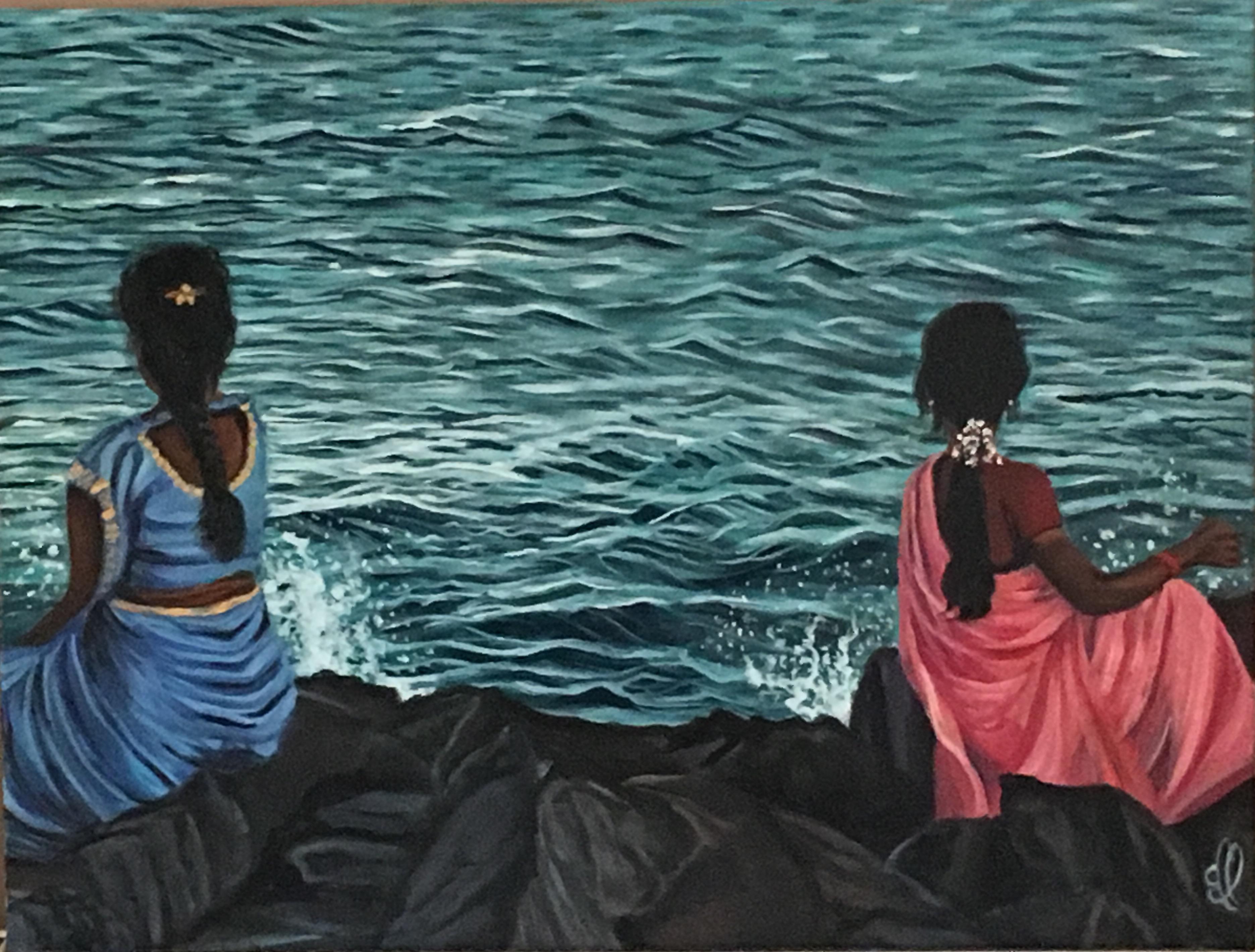 Rêveries indiennes à Pondicherry - oil on canvas - 60X50