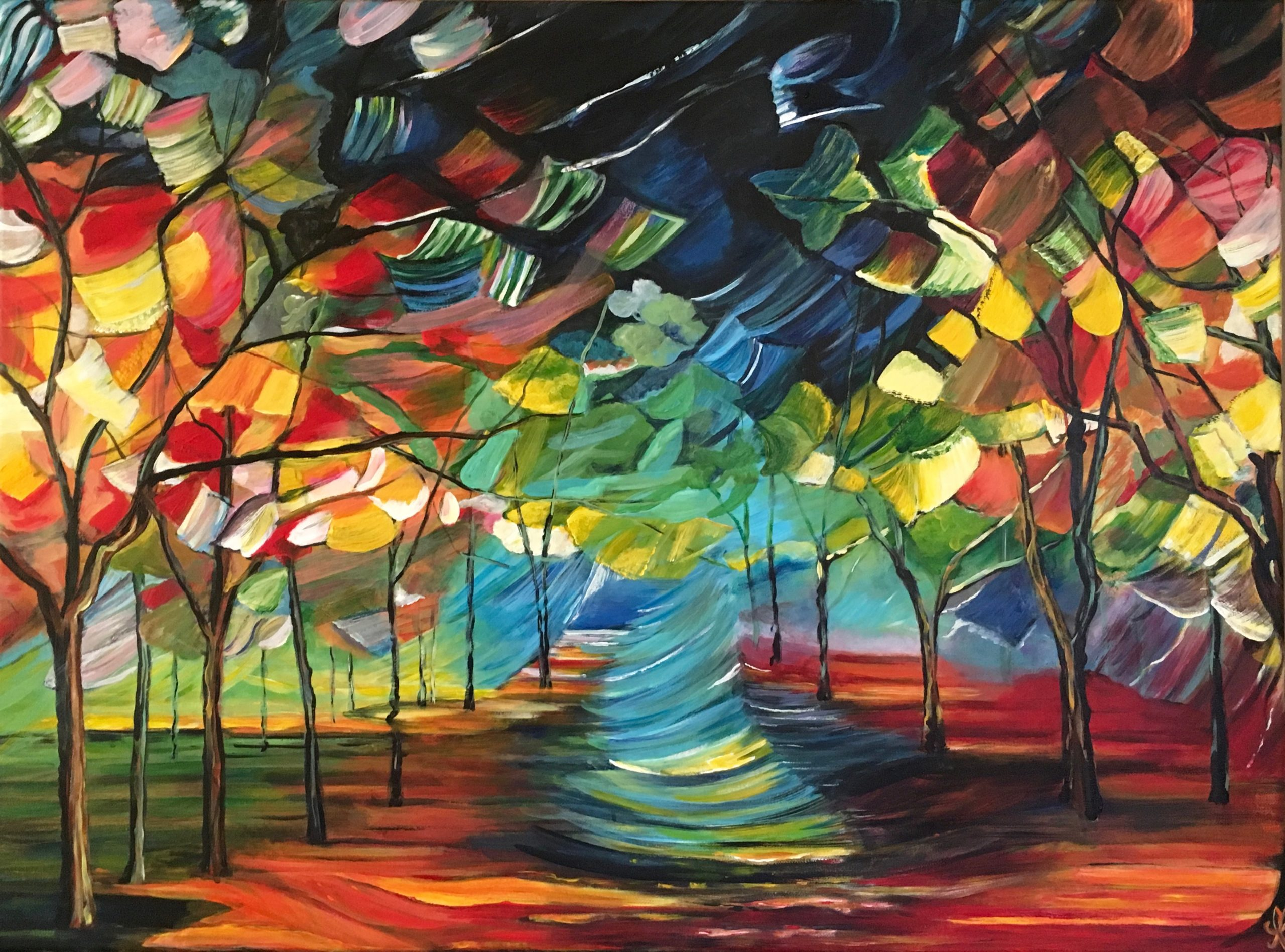 Autumn breath in money wood - acrylic on canvas 80X60