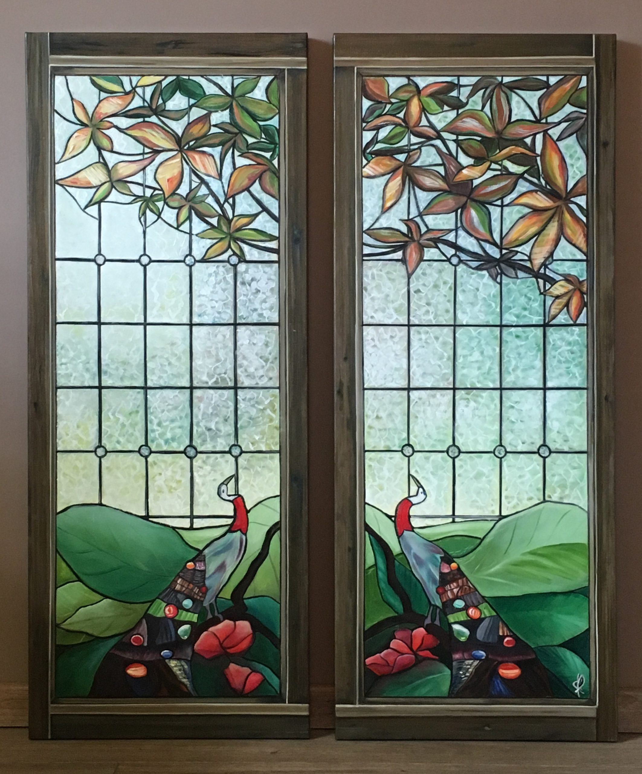Stained glasses on garden - acrylic and oil on canvas - 100X40