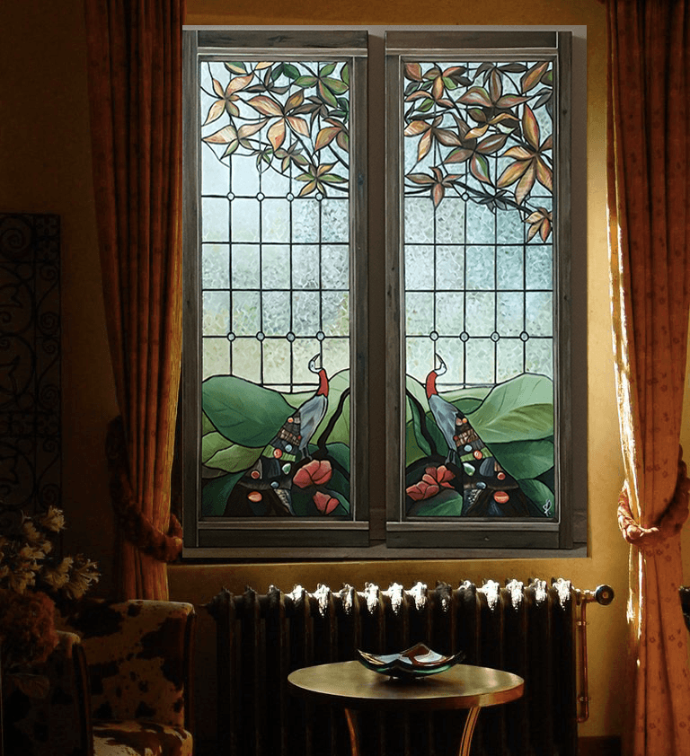 Stained glasses on garden - acrylic and oil on canvas - 100X40 - integrated into an interior decor