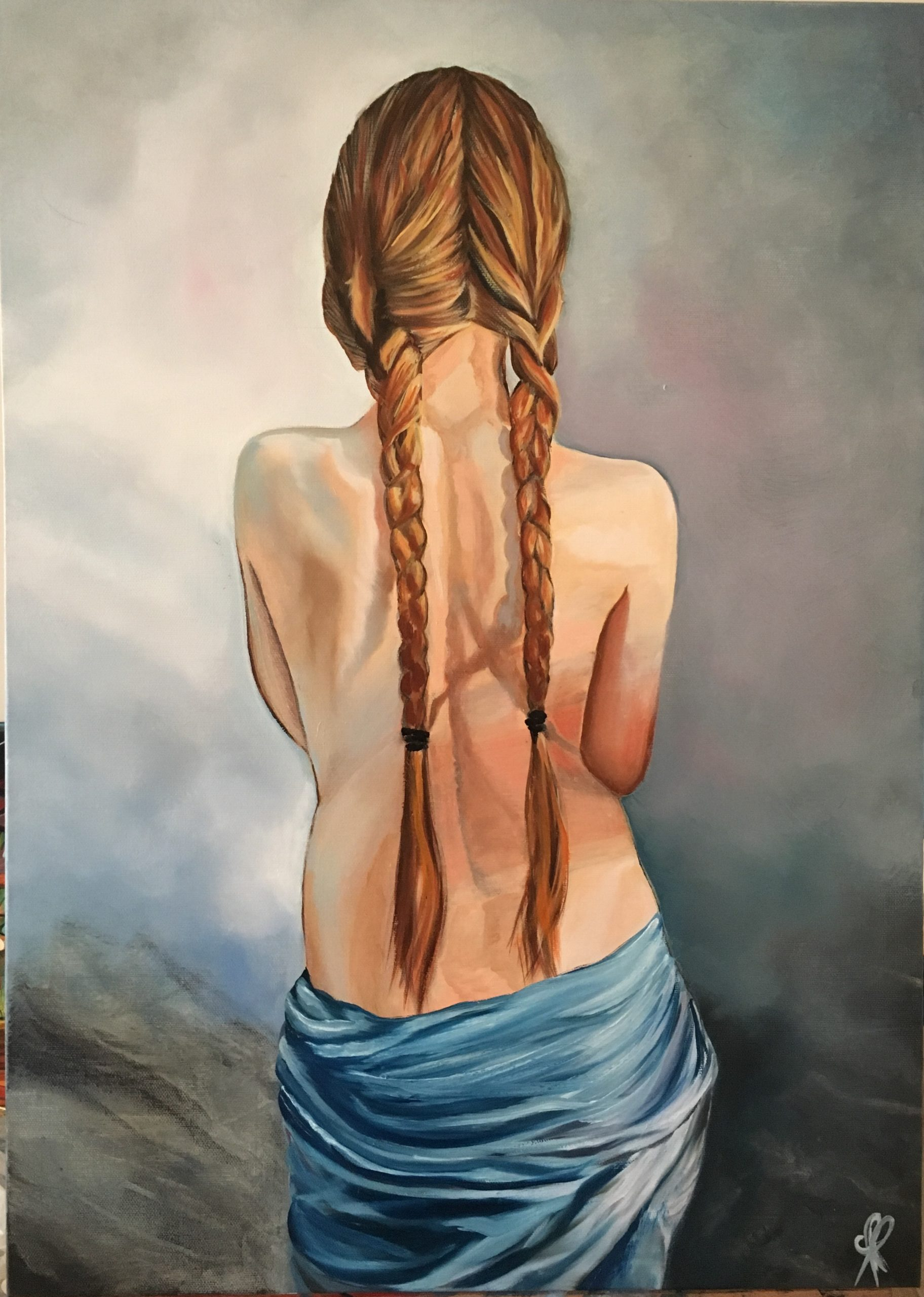 Young woman with long braids - acrylic and oil on canvas 70x50