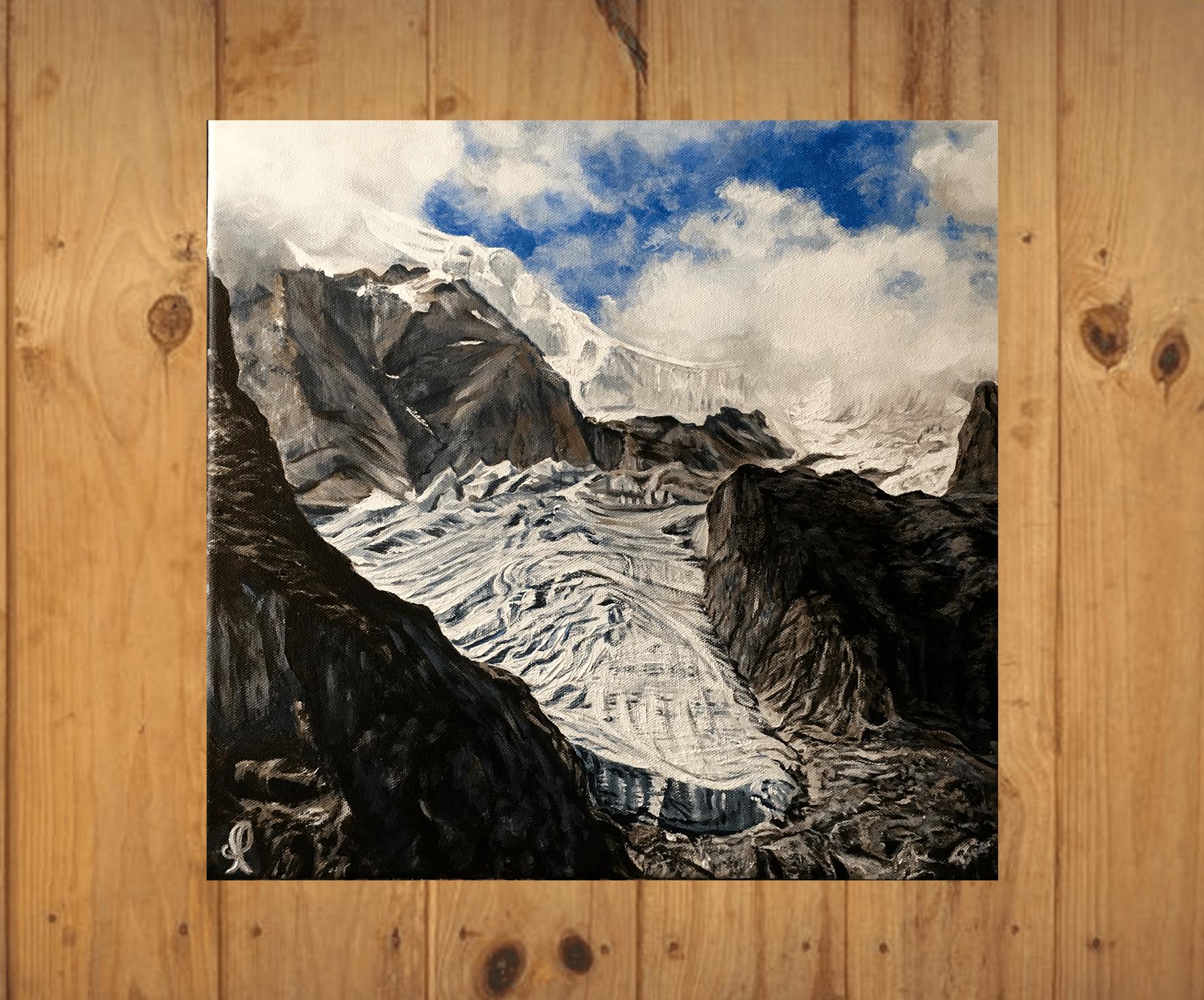 Glacier Pelvoux Huile4040 sur fondsbois