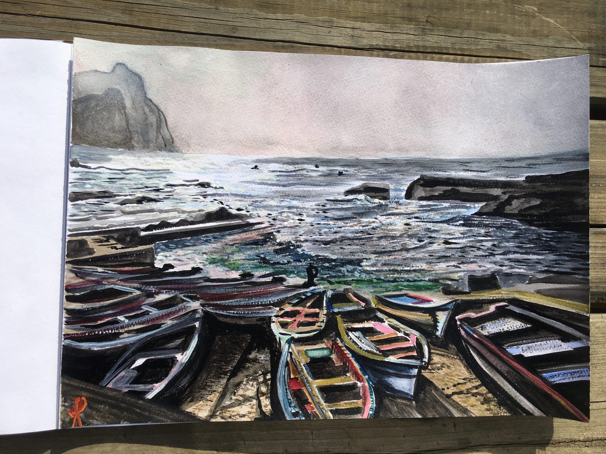 PONTA DO SOL au Cap Vert Aquarelle A4