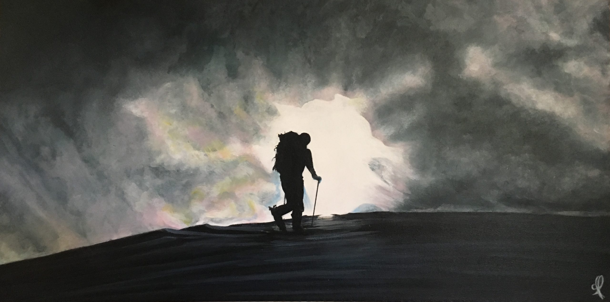 Hiker on the way to calm and light - Acrylic 80X40