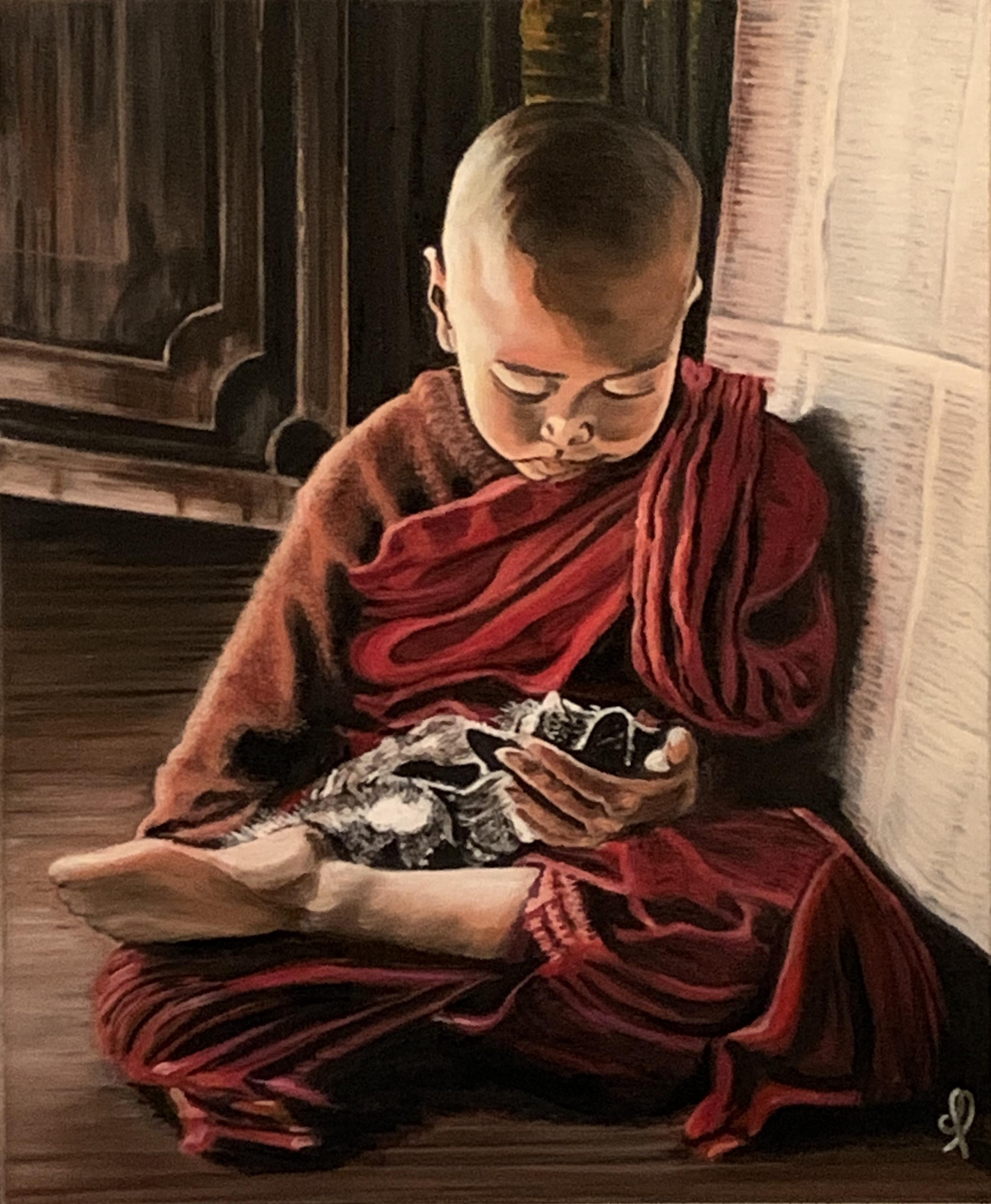 Tibetan monk child and his kitten - oil on canvas 38x46