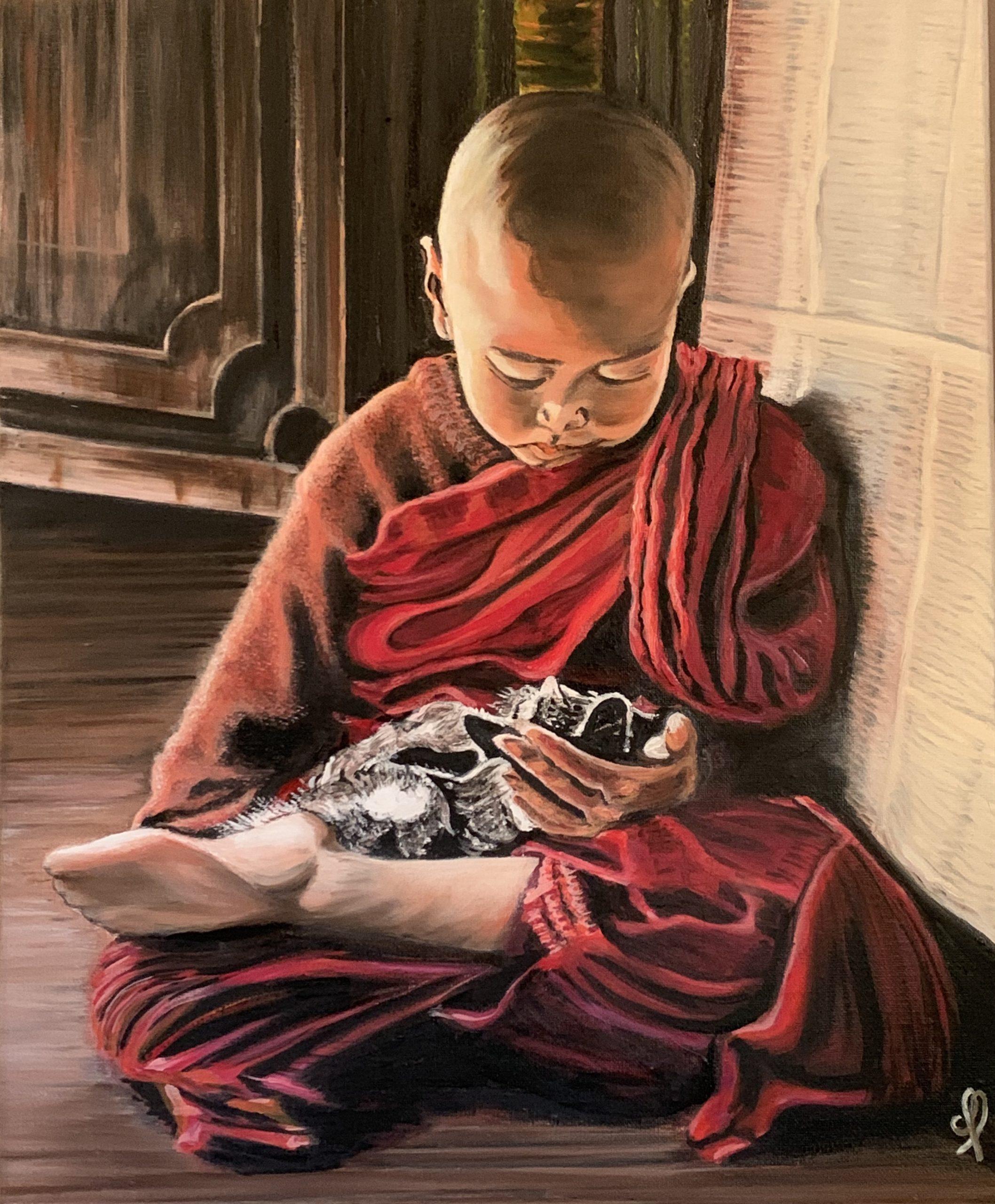L'enfant-moine tibétain et son chaton