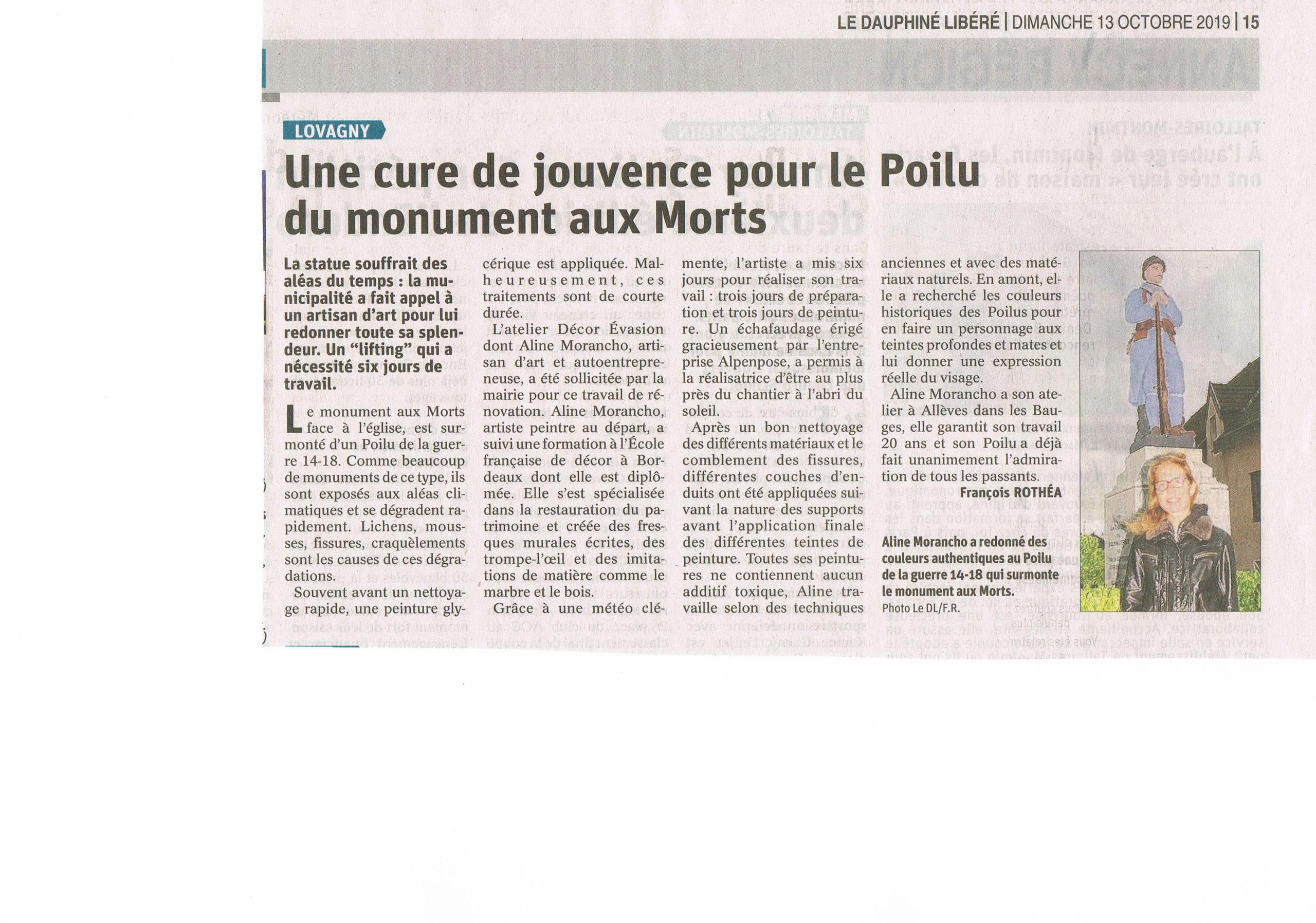 Article du Dauphiné sur la restauration du Poilu de Lovagny 74 - NOV 2019