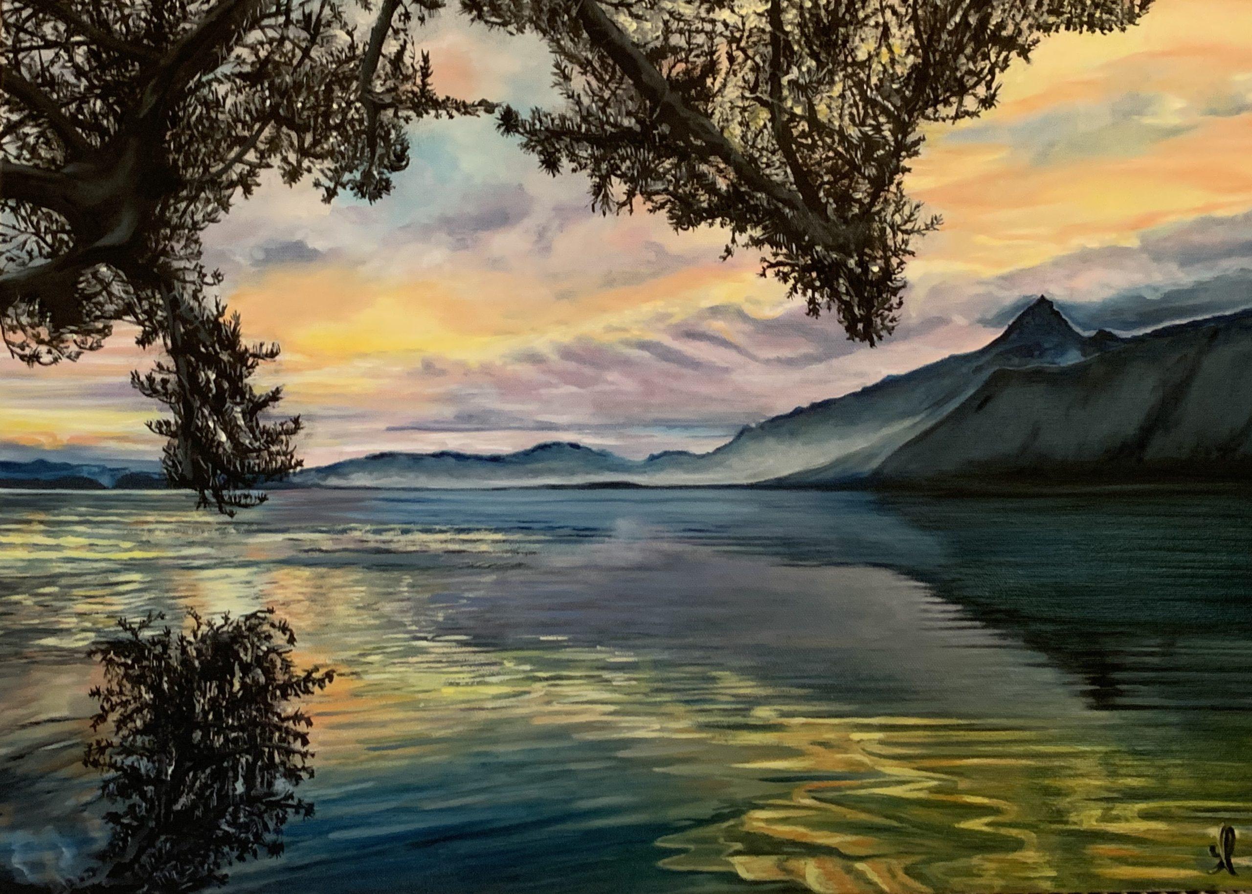 Coucher de soleil sur le lac du Bourget - Huile sur toile 70X50