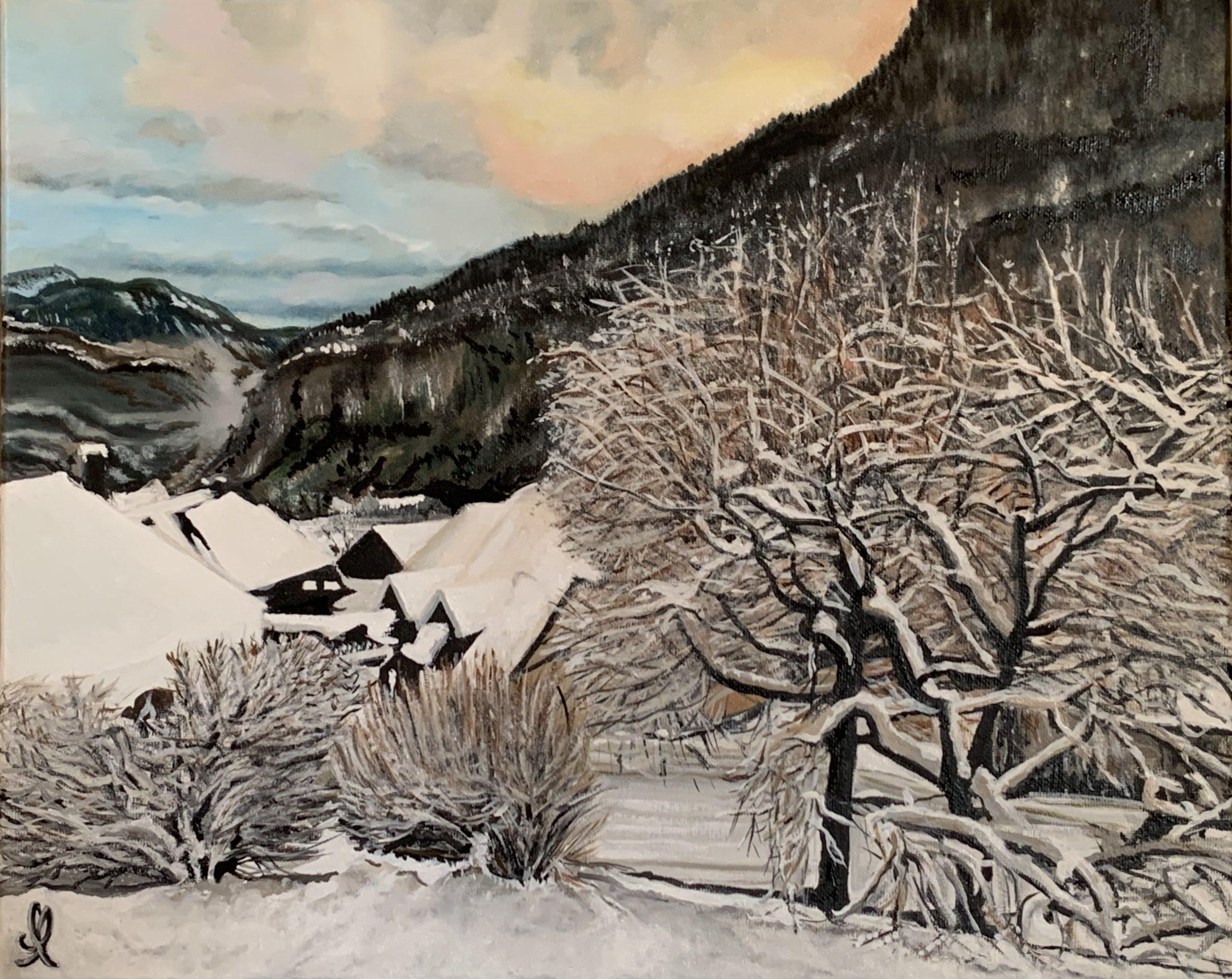 Allèves en Haute Savoie sous la neige - Huile sur toile 35X45