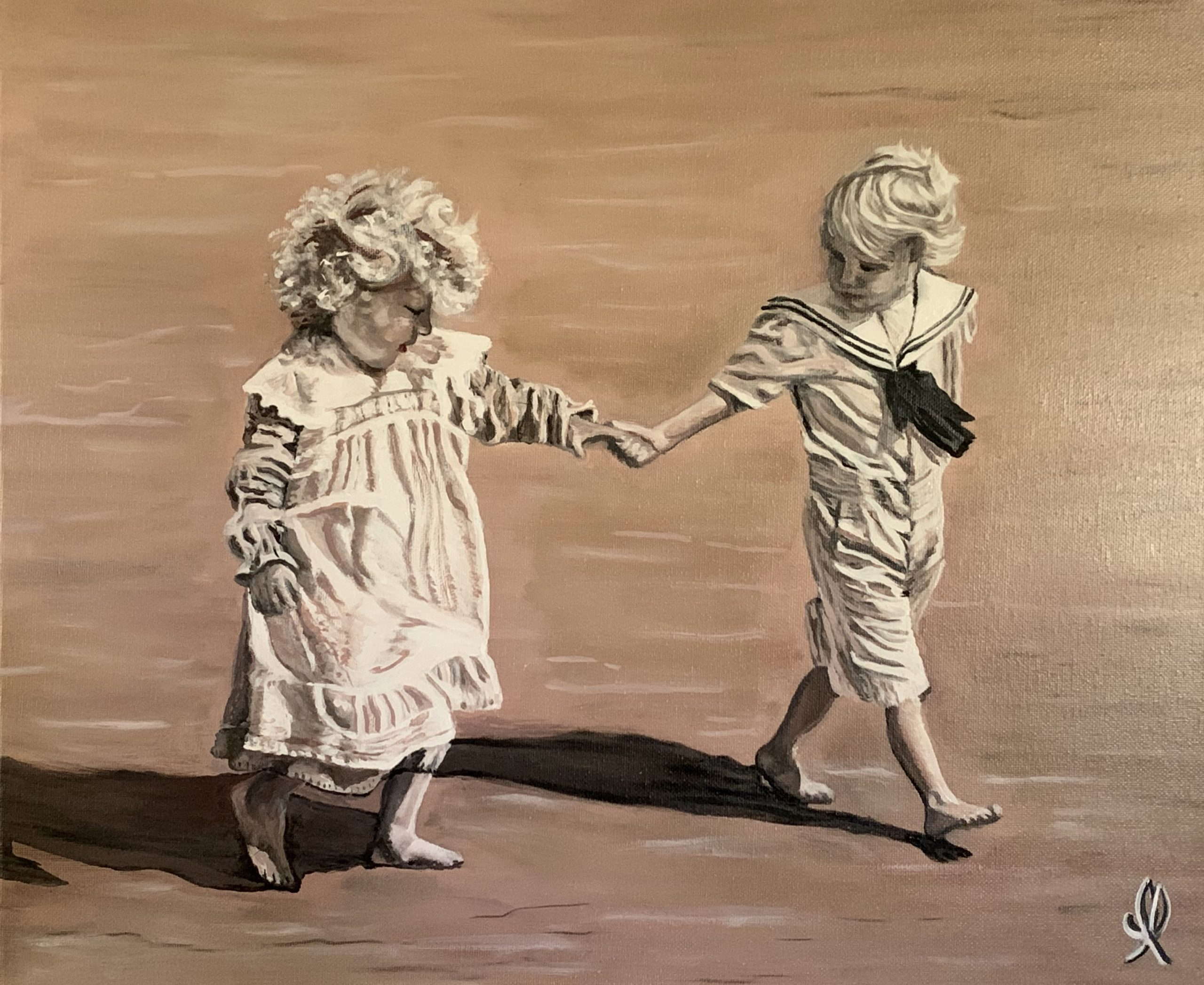 Children on the beach on sepia - oil on canva 46X36