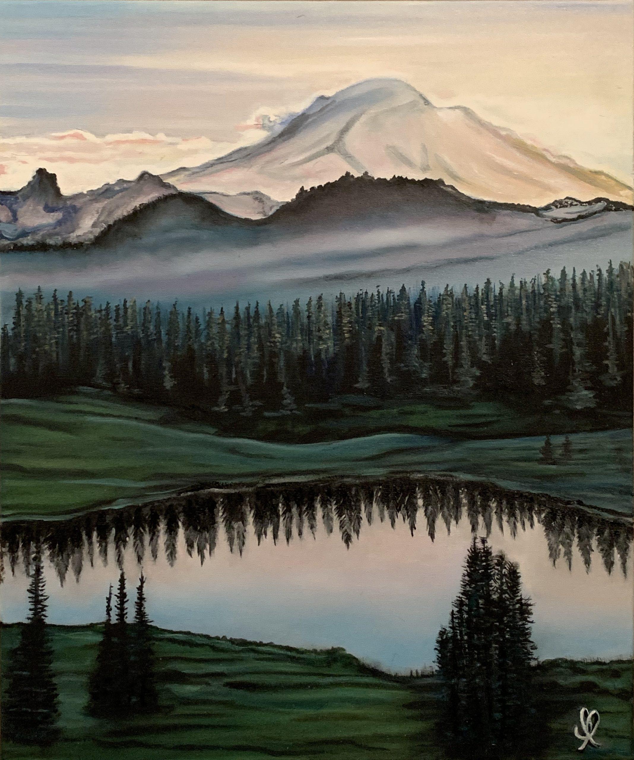Sunrise on Mont Rainier, National Park, Oil on canvas L46xH55