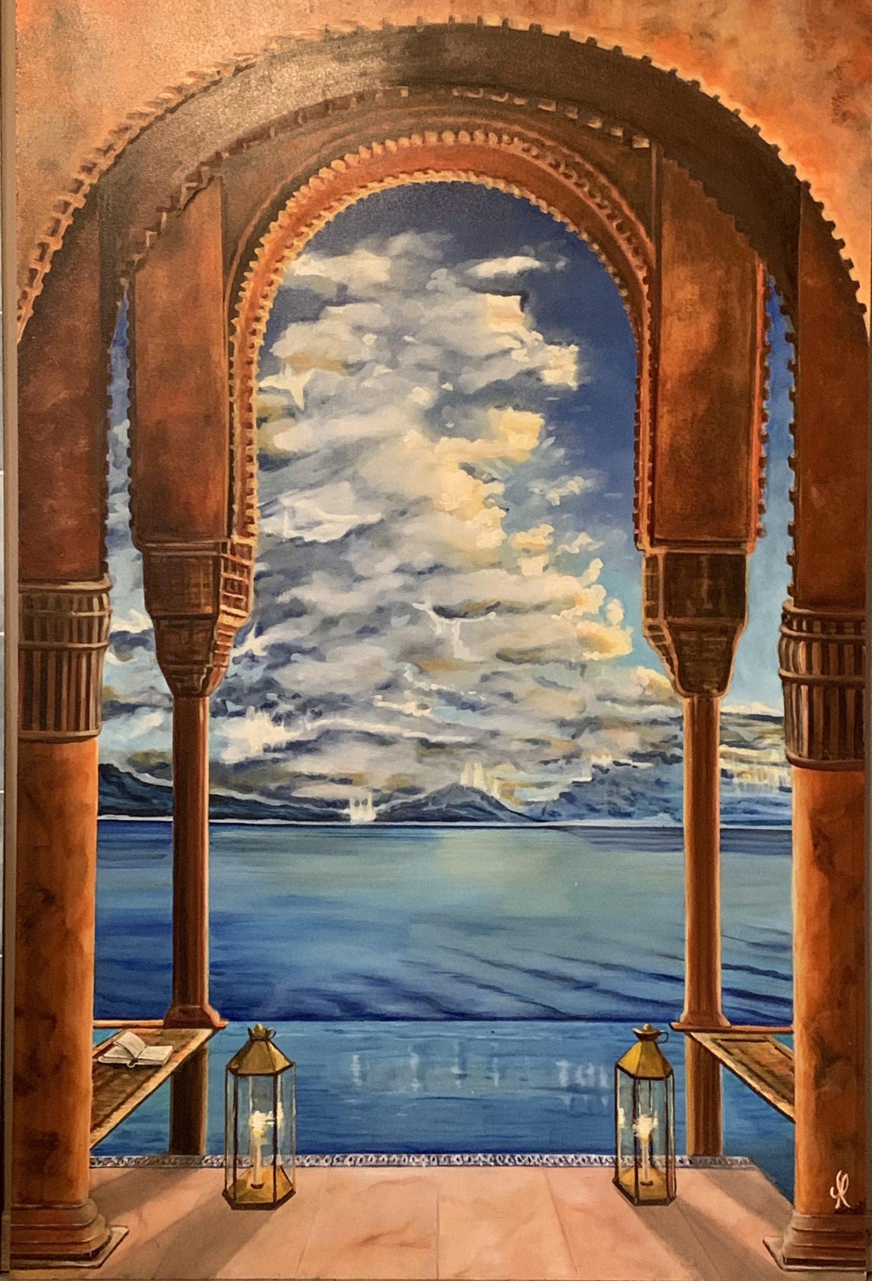 Trompe l'oeil Moroccan palace-L90xH135