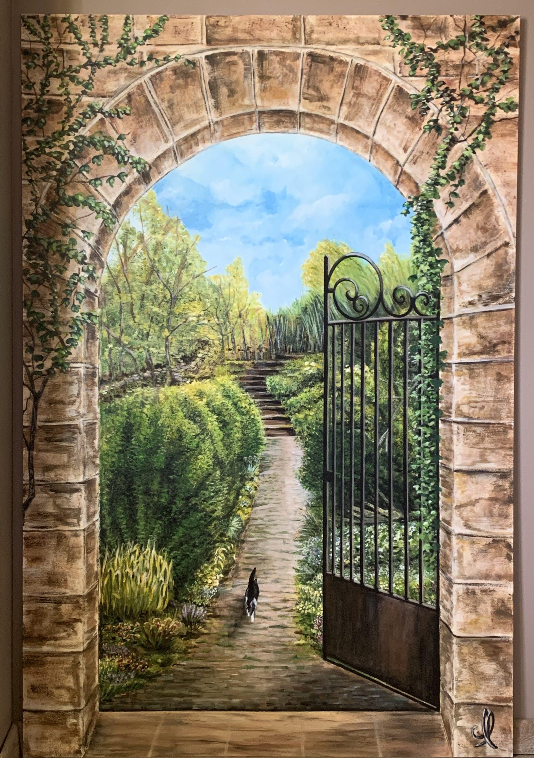 Trompe l'oeil grille s'ouvrant sur le jardin - Acrylique sur panneau de bois L90xH135
