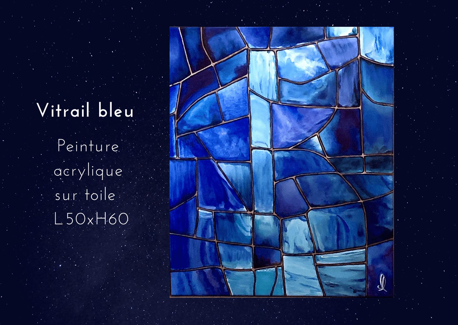 Vitrail bleu Acrylique sur toile L50xH60