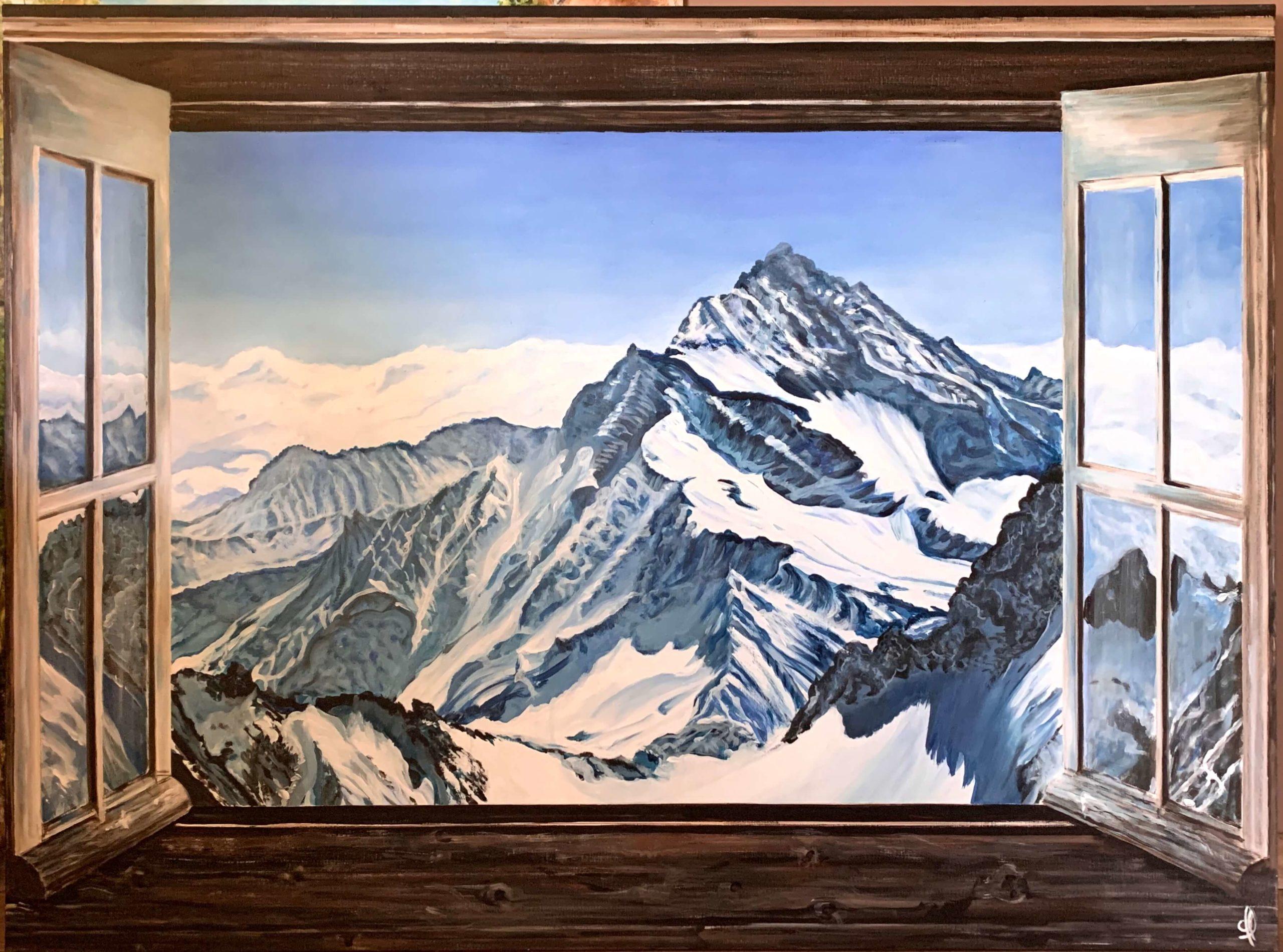 Trompe loeil Fenêtre sur montagne