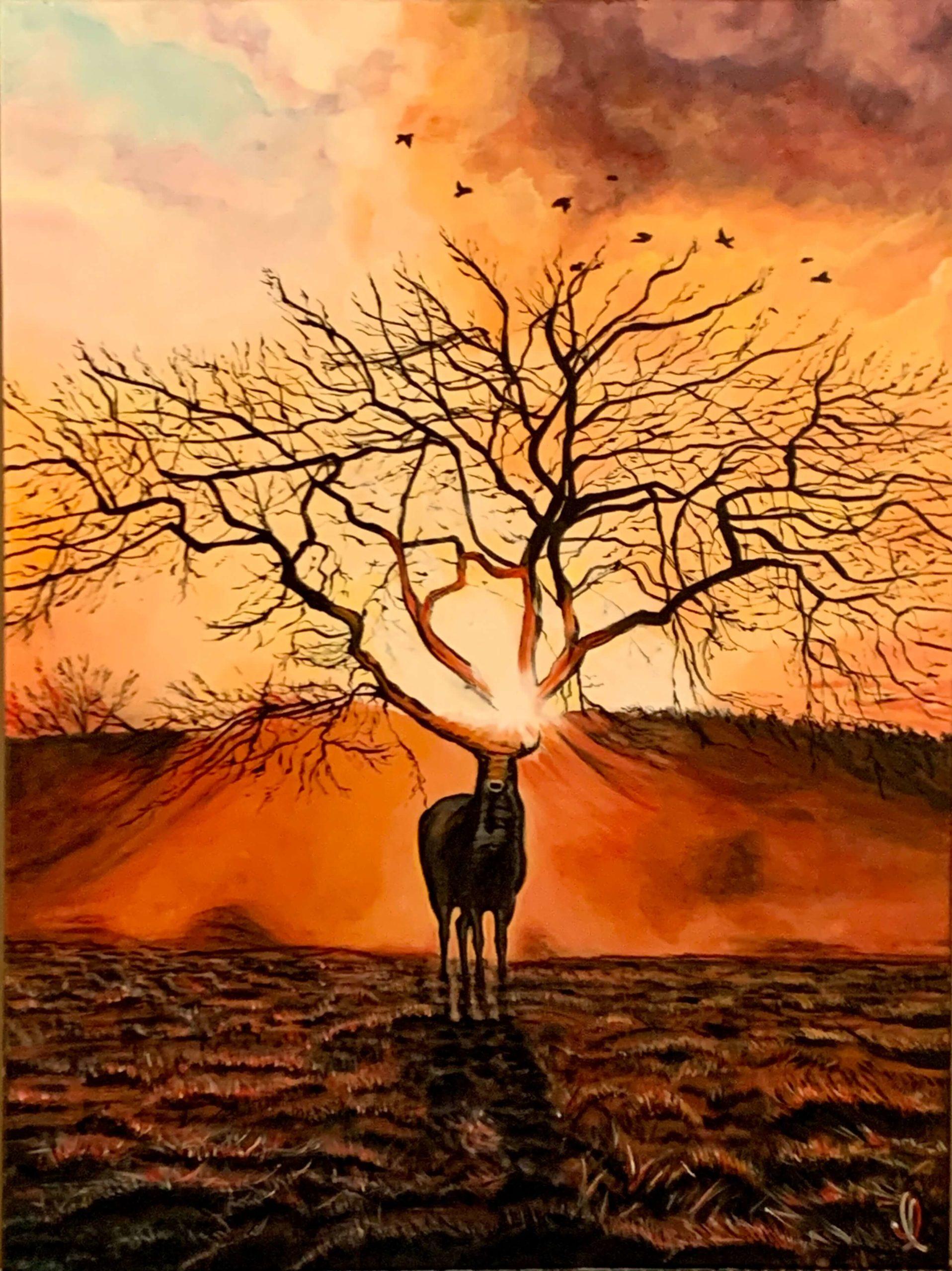 Le cerf et l'arbre en mirage au couchant