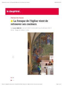 Article du Dauphiné sur la restauration de la fresque de l'église de Chainaz les Frasses (74)